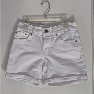 Levi's mid length white shorts